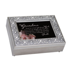 Grandma You are a Gift From God Inspirational Filigree Jeweled Music Box Plays On Eagle's Wings