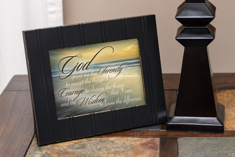 Serenity Prayer Ocean Waves 8x10 Black Framed Art Wall Plaque Sign
