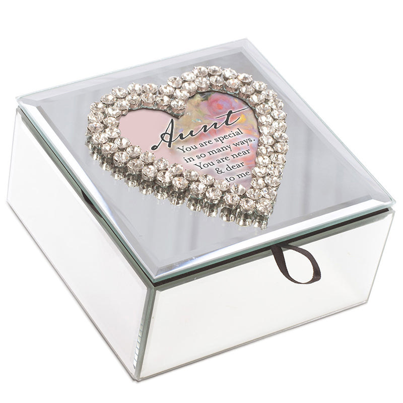 Aunt You Are Special in Many Ways Rhinestone & Mirror Music Box Plays Wonderful World