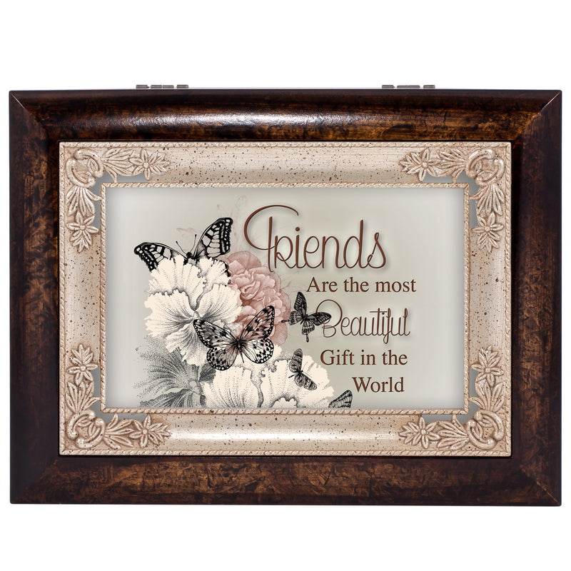 Friends Are the Most Beautiful Gift Burlwood Jewelry Music Box Plays Wind Beneath My Wings
