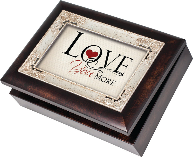 Love You More Italian Style Burlwood Finish with Decorative Inlay Jewelry Music Box - Plays Song All You Need Is Love