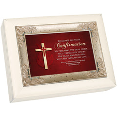 Confirmation Blessings Ivory and Silver Italian Style Music Box Plays Ave Maria