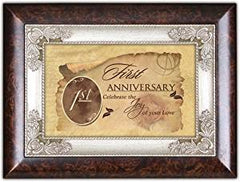 First Anniversary Burlwood Jewelry Music Box Plays Unchained Melody