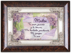 Mom Madre Spanish Tu Amor Generoso Burlwood Jewelry Music Box Plays Amazing Grace