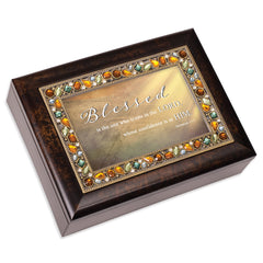 Blessed Is The One Amber 9 X 7 Mdf Wood Musical Box Plays Tune Amazing Grace