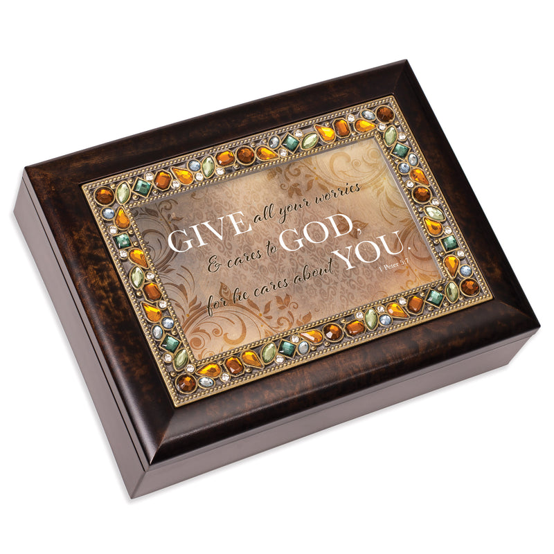 Give All Worries & Cares  Amber 9 X 7 Mdf Wood Musical Box Plays Tune Amazing Grace