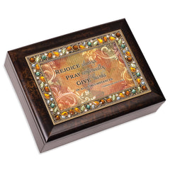 Rejoice Always  Amber 9 X 7 Mdf Wood Musical Box Plays Tune Amazing Grace