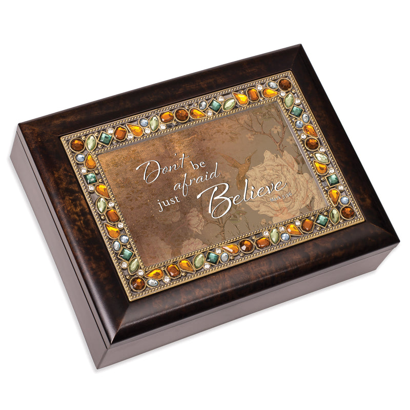 Don't Be Afraid Just Believe  Amber 9 X 7 Mdf Wood Musical Box Plays Tune Amazing Grace
