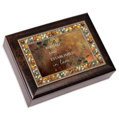 Rooted & Established In Love  Amber 9 X 7 Mdf Wood Musical Box Plays Tune Amazing Grace