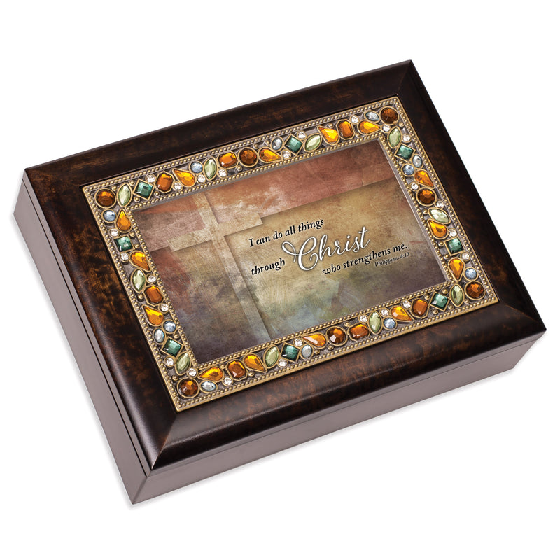 I Can Do All Things Amber 9 X 7 Mdf Wood Musical Box Plays Tune Amazing Grace