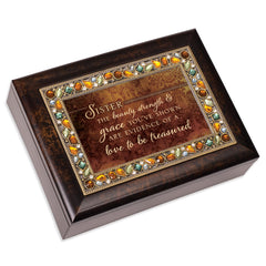 Sister Beauty Strength & Grace Amber 9 X 7 Mdf Wood Musical Box Plays Tune Wind Beneath My Wings