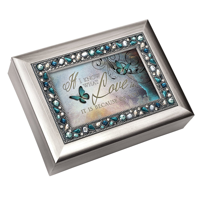 I Know What Love is Because of You Aqua Jeweled Music Box Plays You Light Up My Life