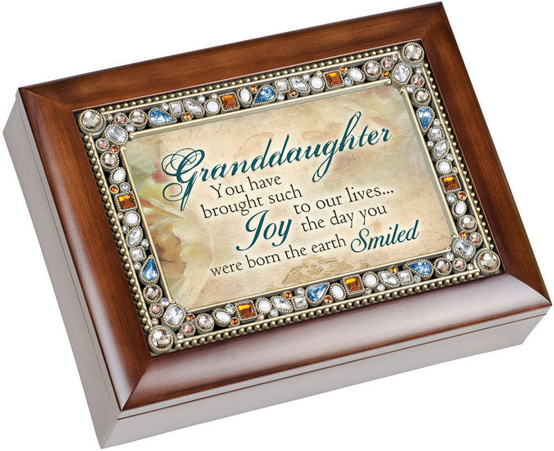 Granddaughter You Have Brought Such Joy Woodgrain Jewelry Music Box Plays Wonderful World