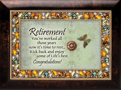 Retirement You Worked All Those Years Amber Earth Tone Jewelry Music Box Plays Wonderful World