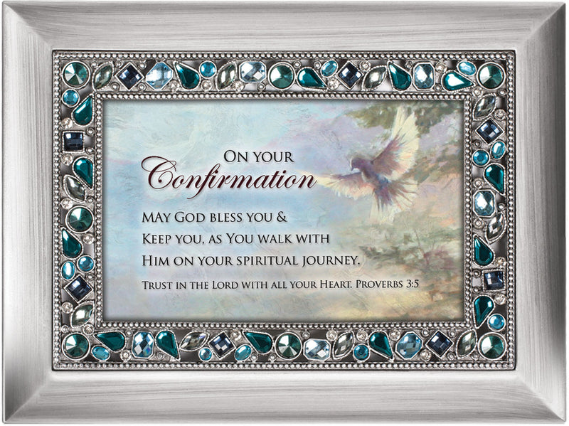 On Your Confirmation May God Bless Brushed Silvertone Jewelry Music Box Plays On Eagle's Wings