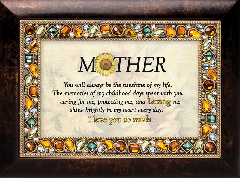 Mother You Will Burlwood Finish Jeweled Lid Jewelry Music Box Plays Tune You Are My Sunshine
