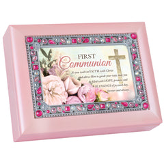 First Communion Walk In Faith Blush Pink Jeweled Music Box Plays Friend In Jesus
