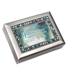 You Mean So Much to Me Inspirational Brushed Silvertone Jewelry Music Box Plays Amazing Grace