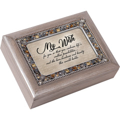 My Wish for You Embrace Life Brushed Pewter Jewelry Music Box Plays Wonderful World