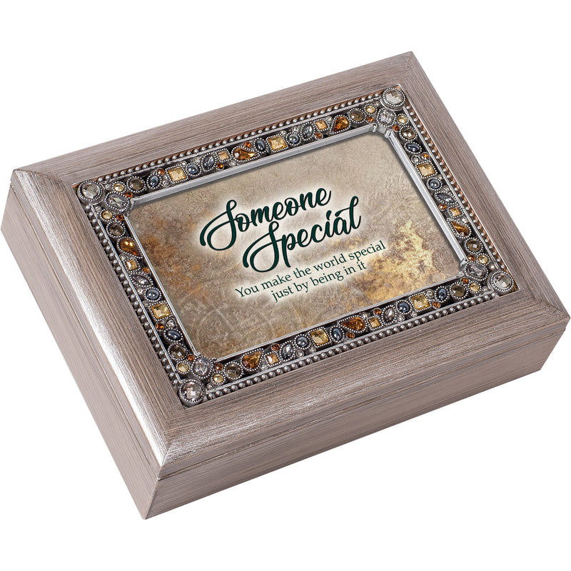 You Are Someone Special Brushed Pewter Jewelry Music Box Plays That's What Friends Are For
