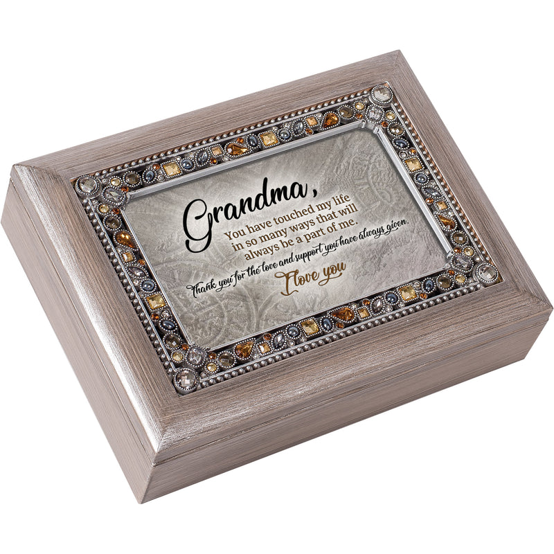 Grandma You Have Touched My Life Brushed Pewter Jewelry Music Box Plays You Light Up My Life