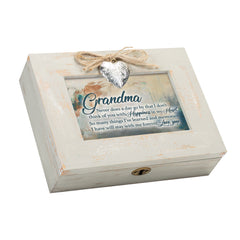 Grandma You Bring Happiness to My Heart Wood Distressed Locket Music Box Plays Wonderful World