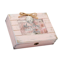 Our Love for Family Will Never Change Blush Pink Distressed Locket Music Box Plays Edelweiss