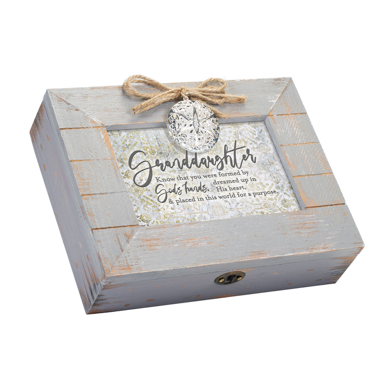Granddaughter You Were Made for a Purpose Inspirational Grey Distressed Locket Music Box Plays Ave Maria