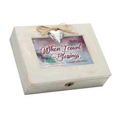 When I Count My Blessings I Count You Twice Inspirational Wood Distressed Locket Music Box Plays Amazing Grace