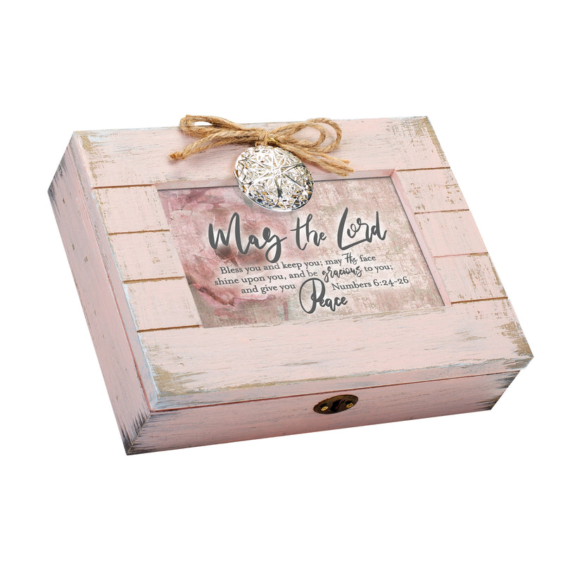 May the Lord Be Gracious to You Inspirational Blush Pink Distressed Locket Music Box Plays Friend In Jesus