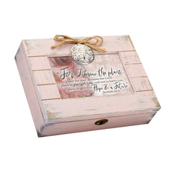 Plans I Have for Your Future Inspirational Blush Pink Distressed Locket Music Box Plays Amazing Grace