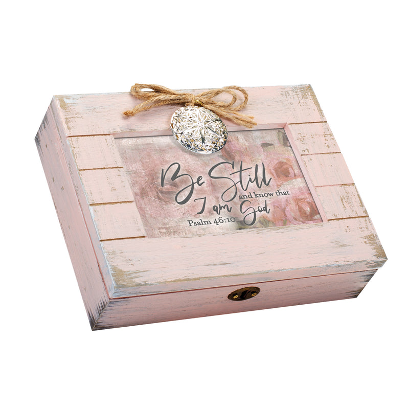 Be Still and Know that I Am God Inspirational Blush Pink Distressed Locket Music Box Plays Amazing Grace