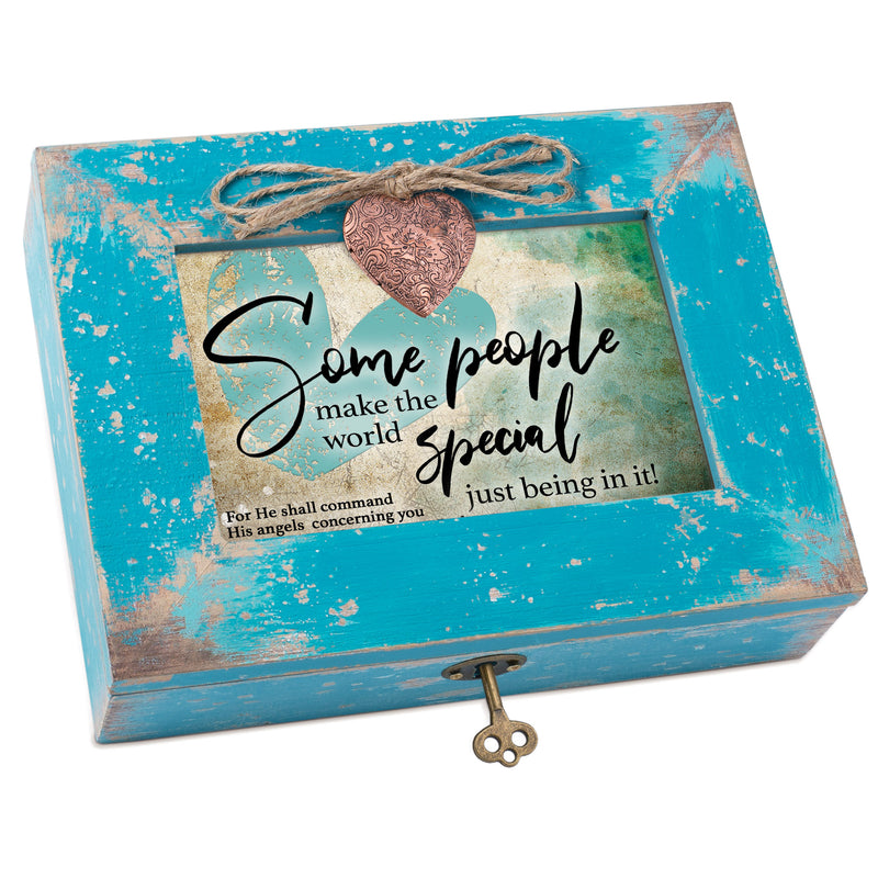 You Make the World Special Inspirational Teal Distressed Locket Music Box Plays Amazing Grace
