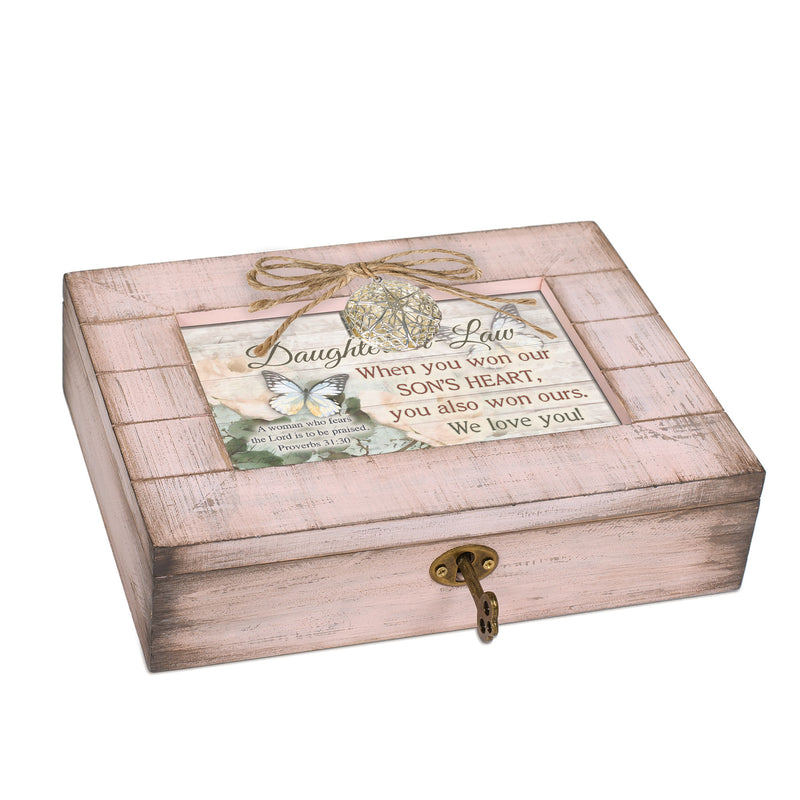 Daughter in Law We Love You Blush Pink Distressed Locket Music Box Plays Friend in Jesus