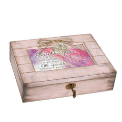 Granddaughter Sparkle Blush Pink Distressed Locket Music Box Plays You Are My Sunshine