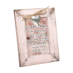 The Best Things in Life Blush Pink Distressed Locket Easel Back Picture Frame