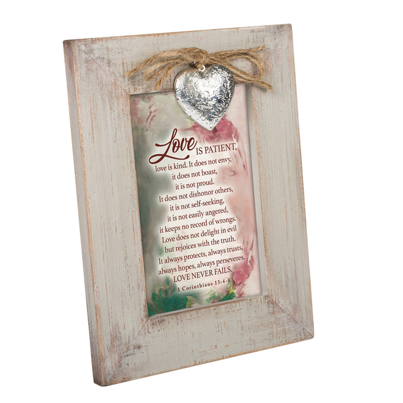 Love is Patient Inspirational Wood Distressed Locket Easel Back Picture Frame