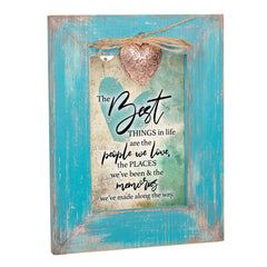 The Memories We Have Made Teal Distressed Locket Easel Back Picture Frame