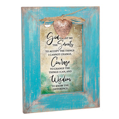 Serenity Prayer Inspirational Teal Distressed Locket Easel Back Picture Frame