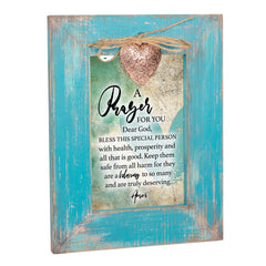 A Prayer for You Inspirational Teal Distressed Locket Easel Back Picture Frame
