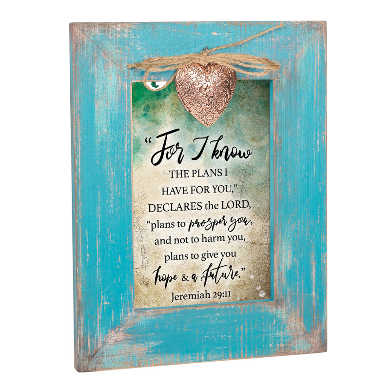 Plans I Have for You Inspirational Teal Distressed Locket Easel Back Picture Frame