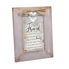 A Friend Knows the Song in Your Heart Grey Distressed Locket Easel Back Picture Frame