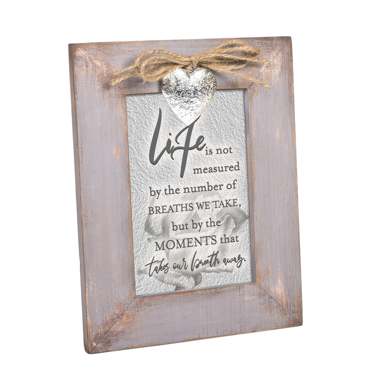 Life is Measured by Moments Grey Distressed Locket Easel Back Picture Frame