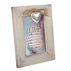 Life is Like a Camera Wood Distressed Locket Easel Back Picture Frame