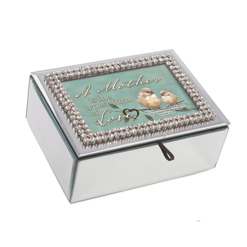 A Mother's Love Inspirational Rhinestone & Mirror Music Box Plays Amazing Grace