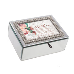 Mother You Are Loved Inspirational Rhinestone & Mirror Music Box Plays Amazing Grace
