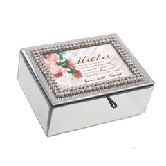 Mother You Are Loved Rhinestone & Mirror Music Box Plays Wind Beneath My Wings