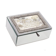 50 Golden Years Rhinestone & Mirror Music Box Plays You Light Up My Life