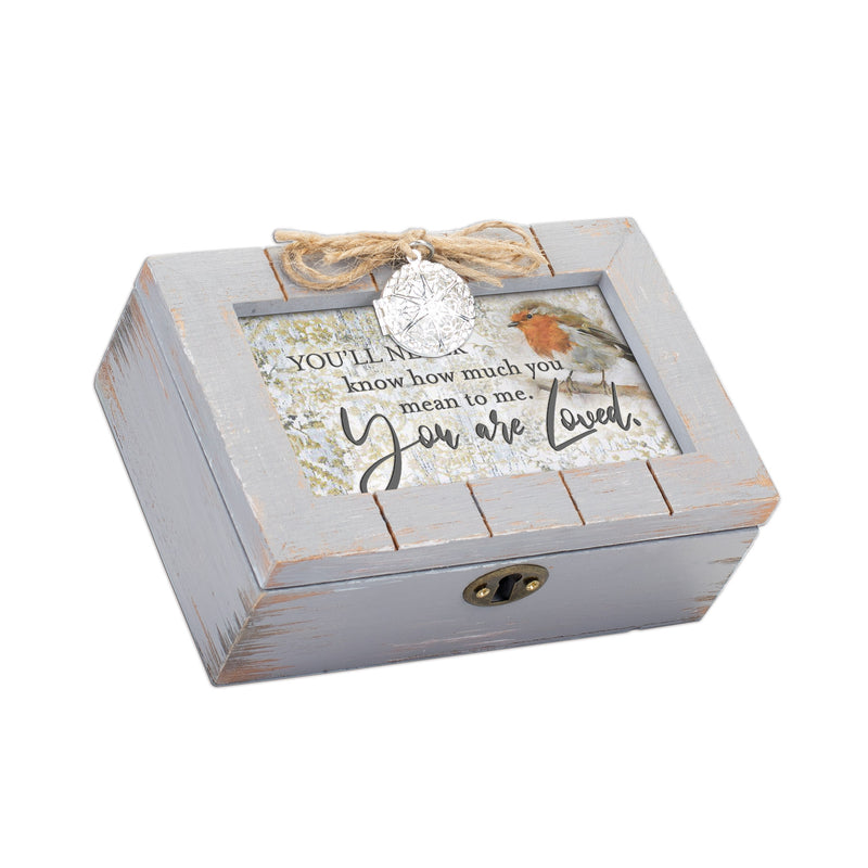 You'll Never Know How Much You Are Loved Petite Grey Distressed Locket Music Box Plays Edelweiss