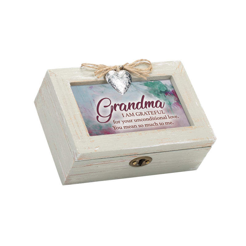 Grandma I am So Grateful for You Petite Wood Distressed Locket Music Box Plays Wind Beneath My Wings